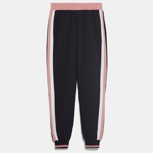 zara jogging pants with side stripe